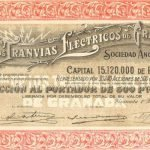 Cía. de los Tranvías Eléctricos de Granada S. A. Acción. Granada, 1929