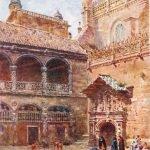 Catedral. Grabado vista tricromía de W. Collins. 1909