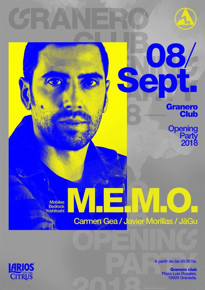 M.E.M.O. + Carmen Gea + Javier Morillas - Granero Club (08/09/18)