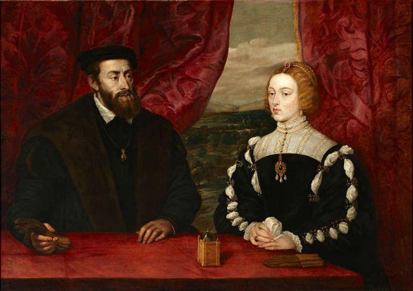 Carlos I y su esposa Isabel de Portugal. Copia de Rubens de un cuadro desaparecido de Tiziano