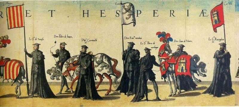Estandartes con las armas de Aragón, de León y de Castilla