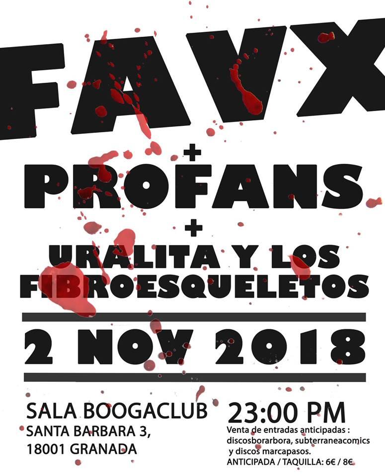 Favx + Profans + Uralita y los Fibroesqueletos - Boogaclub (02/11/18)