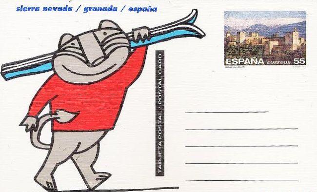 Mundial de Esquí de 1996 en Sierra Nevada. Cecilio era la mascota.