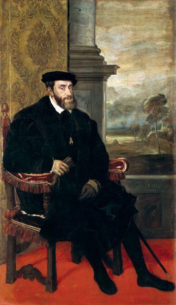 Retrato de Carlos V sentado, por Tiziano