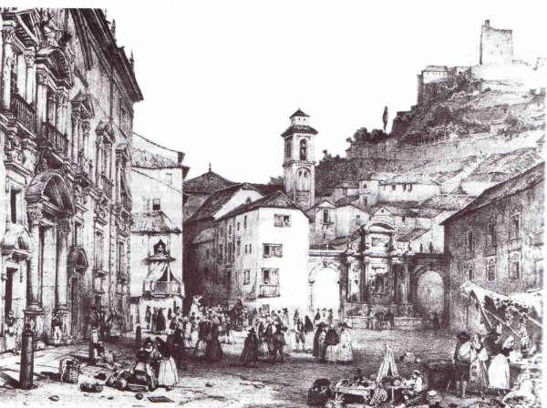 Grabado de Plaza Nueva. Girault de Prangey (1835)