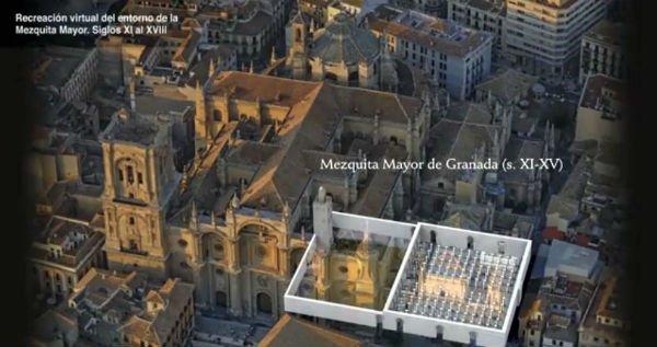 Recreación de la Mezquita de Granada, sobre la Granada actual.