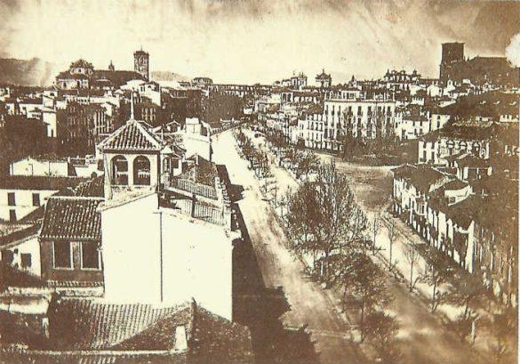 Acera del Darro y Puerta Real. 1861