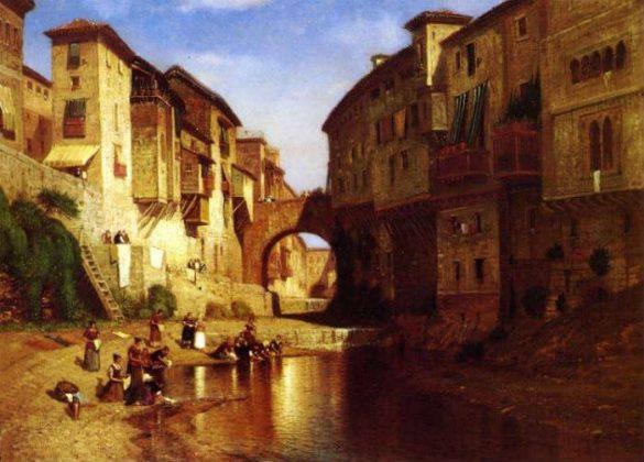 Calle Reyes Católicos en la Granada de 1802. Lavanderas en el río Darro por debajo del antiguo puente del Carbón. Samuel Colman (1832 – 1920)