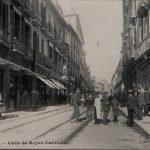 Calle Reyes Católicos sin el antiguo edificio del Banco Central en obras. Por tanto anterior a 1917.