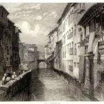 Calle Reyes Católicos. Puente del Carbón aguas arriba, desde plaza del Carmen. John Frederick Lewis (1833-34)
