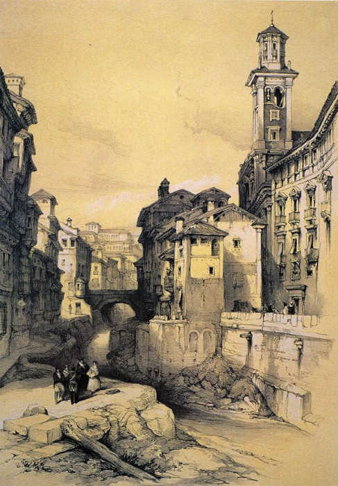Calle Reyes Católicos. Puente del Carbón, aguas arriba,
