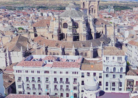 El Grand Hotel París de la Gran Vía de Granada. Vista actual de Google Maps en 2018