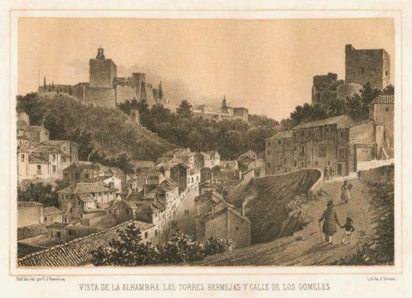 Litografía de J Denon de la Cuesta Gomérez, Alhambra y Torres Bermejas.