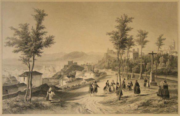 Paseo de los Mártires. Granada. Litografía