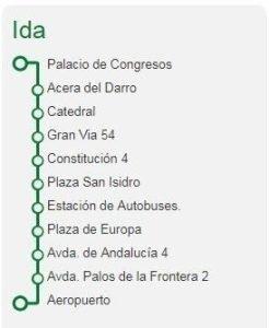 Itinerario Autobus Aeropuerto Granada IDA