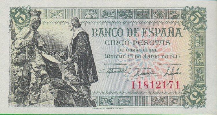 billete de cinco pesetas 1945 reina isabel la catolica y colon